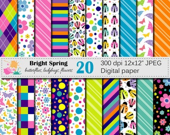 Bright Spring Digital Paper Set with Butterfly Ladybugs and Flowers, Colorful Kids Spring Bugs Digital Scrapbook papers, Instant Download
