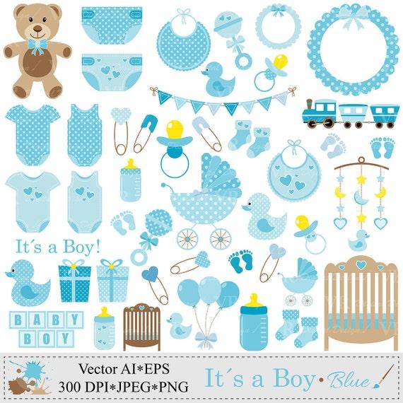Baby Gift Vector : Baby boy clip art blue shower clipart by vrdigitaldesign