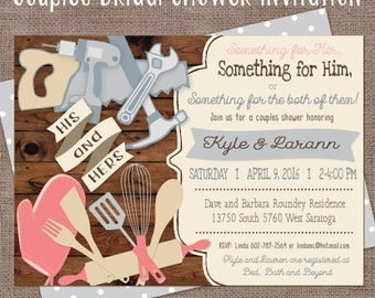 Bridal Shower Couples tools, Couples Bridal Shower Invitation