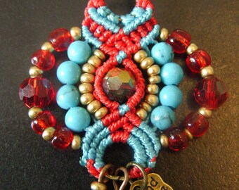 Chic Bohemians in macrame red and turquoise earrings, beads Czech seed beads Golden, glass and beads turquoise gems