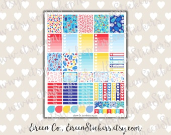 Erin Condren Printable Stickers, Summer Beach Weekly Set, Weekly Planner Stickers Kit, Red Blue Yellow Full box, PDF Instant Download