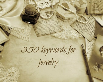 350+ keywords and tags for jewelry, SEO help for jewellery, increase relevancy for jewelry