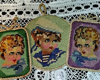 3 embroidered portraits Children's portraits