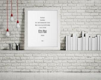 Kiss You , Hafez Wall Art , Romantic Home Decor , Affectionate Wall Art , Loving Hafiz Quote , Passionate Poster , Hafiz Poem , Love Poem.