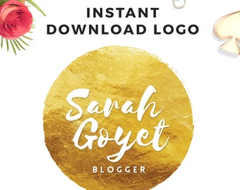 Instant download Gold Logo - DIY Premade Logo Design - Gold Foil Logo - Simple Logo - Photoshop Logo - PSD Logo Template - Premade Watermark