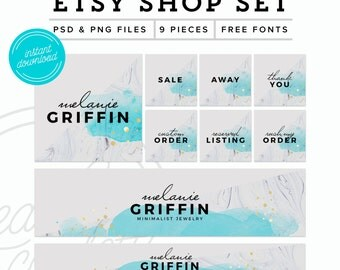 Marble Etsy Shop Set Instant Download - Marble Etsy Kit - Premade Etsy Branding Kit - PSD Etsy Set - Marketing Kit, PSD Etsy Shop Graphics
