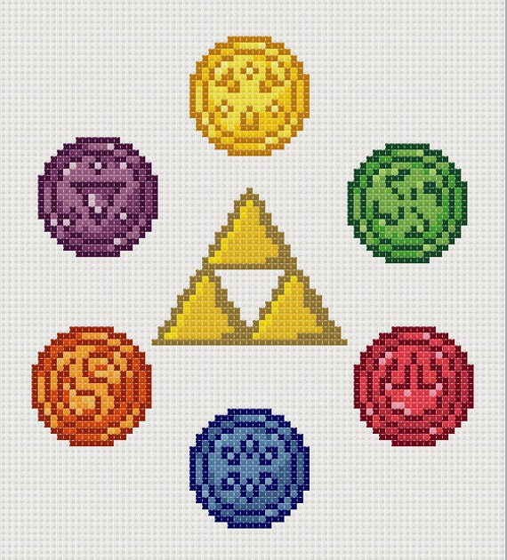 Legend Of Zelda Ocarina Of Time Cross Stitch Six Medallions
