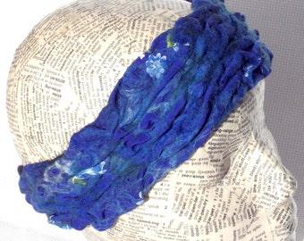 Nuno Felted with Merino Alpaca Headband, Ear Warmer, headwrap, Women Headband, Women Head Wrap, Ear-warmer, bright blue headband