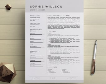 Creative professional resume template easy to by simplecleanresume simple resume template clean cv design cover letter ms word professional modern resume instant digital download yelopaper Image collections