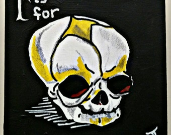 F is for Fetal Skull - Canvas Painting 6x6