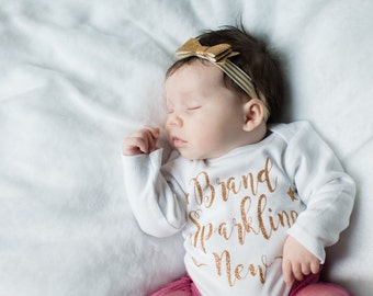 Brand Sparkling New newborn girl bodysuit, newborn girl gown, Baby shower gift, baby girl take home outfit, newborn girl hospital outfit