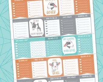 Totes Goats Super List Pack Printable / Erin Condren Planner Sizes Instant Gratification Digital Download