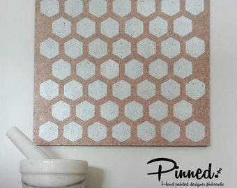 Hexagon pinboard,  hand painted cork board, memo board, bulletin board for kitchen, dining, study or bedroom