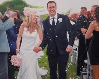 Unique Wedding Gift for Couple Portrait Art   Wedding Portrait Art   Custom Wedding Gifts   Wedding Oil Paintings   Acrylic Paintings