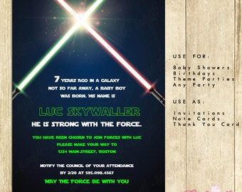 Star Wars Invitation Green-INSTANT DOWNLOAD - Editable File you can personalize with Adobe Reader great for children,adult parties 0101-GG