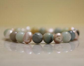Amazonite and Freshwater Pearl Bracelet
