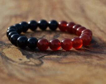 Black Onyx half Carnelian Stone - 8mm Genuine Semi Precious Stone Bracelet