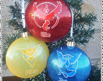 Character Themed Christmas Baubles (pokemon go)