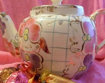Teapot,Price Brothers Teapot, tea lover gift, vintage teapot,gilt teapot, flower teapot, housewarming gift,Price teapot,teapot