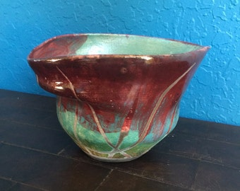 RAKU bowl with bright colors