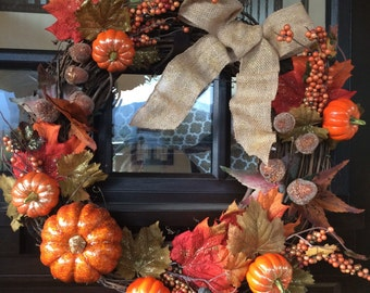 Fall Wreath with Burlap Bow, Glittery Pumpkins, Acorns & Leaves