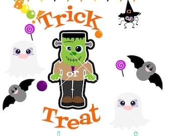 Halloween Frankenstein trick or treat svg, instant download, digital, cutting file, clipart, clip art