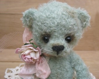 Teddy bear hand knitted mint color