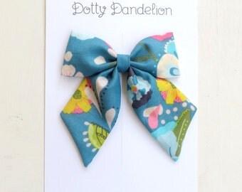 Floral Sailor Bow | Girls Hair Clip, Floral Hair Bow, Turquoise Hair Bow, Girls Hair Bows, Floral Hair Clip