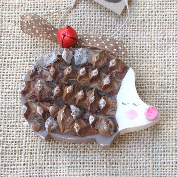 Hedgehog Ornament Wood Ornament Wooden Hedgehog Holiday