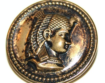 Large Brass Egyptian Pharaoh Button ~ Egyptian Revival Period ~