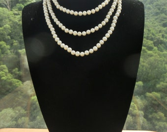3-row White Pearl Necklace