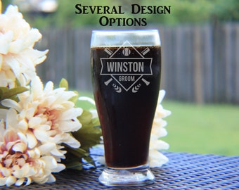 Set of 7 Engraved Pilsner Glasses, Groomsman Gift, Custom Engraved Pilsner Glass, Beer Mug, Personalized Pilsner, Happyism, Groomsman Favor