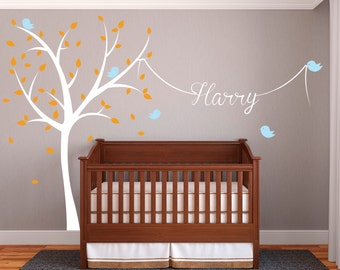 Nursery Tree Wall Decal - Name Tree Wall Decal - Birds Wall Decor - Nursery Room Wall Art Vinyl - Large Tree Baby Boy Decal