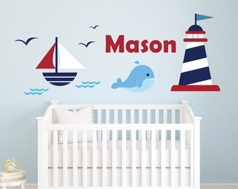 Nautical Name Wall Decal - Custom Nursery Wall Decals - Personalized Name Wall Decal - Sailboat Baby Room Wall Art Decor