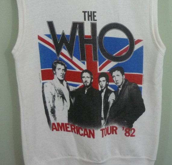 The Who 1982 US Tour Sleeveless Sweatshirt / 1980s Band T-shirt / Sponsored by Schlitz / Modern Size Small S to Medium M