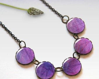 Purple necklace, Bridesmaid gift, Glass dome necklace, Boho jewelry for women, Chunky bib necklace, Gift idea, 5091-6