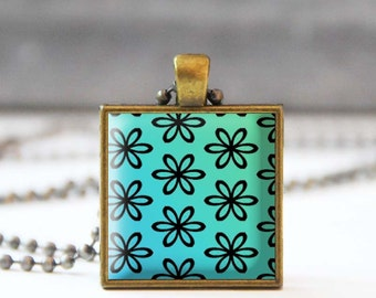 Turquoise necklace, Flower Photo charm necklace, Square Spring summer jewelry, Gift for her, 5054-5