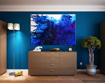 Large Contemporary art Handmade XXL heavy texture modern abstract painting blue white pearl magenta