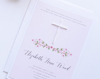 Watercolor Flowers, White Handmade Cross, Boy or Girl Baptism Invitation, First Communion Invitation, New by Paradise Invitations