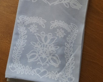 Vintage tablecloth Scandinavian design hearts, tulips, leaves, gray and white