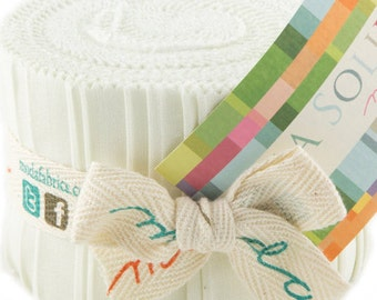 "Bella Solids - Jr Jelly Roll - Moda - (20) 2.5"" Strips - Snow/Ivory # 182"