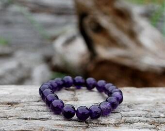 Amethyst bracelet, purple chakra bracelet, amethyst meditation bracelet, amethyst yoga bracelet, amethyst wrist mala, amethyst bead bracelet
