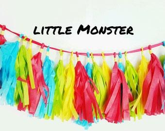 Turquoise/Lime Green/Yellow/Red Tassel Little Monster Banner