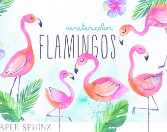 Watercolor Flamingos Clipart | Tropical Flamingos Summer Clipart - Flamingo Nursery Art - Digital Instant Download PNG Files