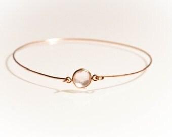 14k Gold Pink Rose Quartz Bangle Bracelet - Multi Faceted Crystal Gemstone Vermeil Bezeled Minimalist