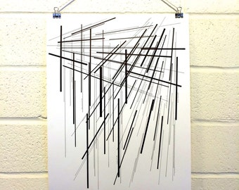 Feeling Futuristic Print, original art, black and white, steampunk, graphic, modern, minimalist, artwork