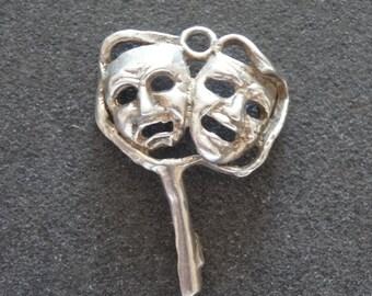Silver Bracelet Charm Comedy Tragedy Mask Theatre Vintage Fob Pendant