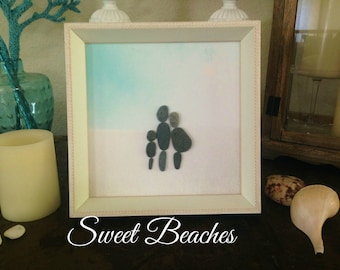 "Pebble Art  "" Bump ""  Beach Decor Stone Rock People Baby Shower Gift"