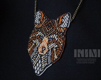 Embroidery beaded necklace 'Tribal fox'