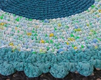 "Round 36"" Rag Rug, Aqua Colors, Handmade Crocheted Rug"